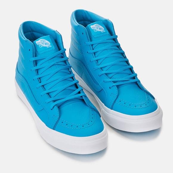 cd279e6b8c32bc NWT Sm-8 Hi Slim Neon Leather Blue